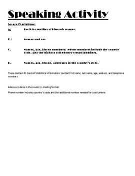 Spanish Speaking Activity N1