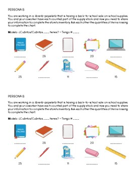 Spanish - Speaking Activity - Numbers and School Supplies