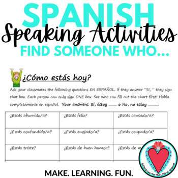 Spanish Speaking Activity - Spanish Emotions and Feelings with Estar