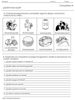 Spanish Speaking Activity Stem Changing Verbs