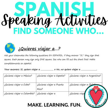 Spanish Speaking Activity - Travel Unit - Find Someone Who