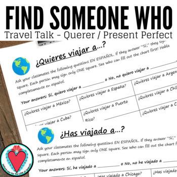 Spanish Speaking Activity - Travel Unit - Find Someone Who