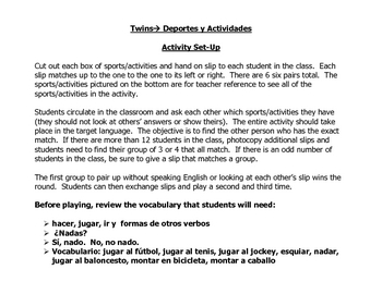 Spanish Speaking Activity to Practice Sports and Activities Vocabulary