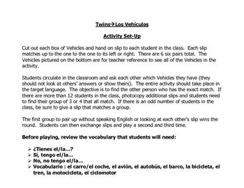 Spanish Speaking Activity to Practice Transportation