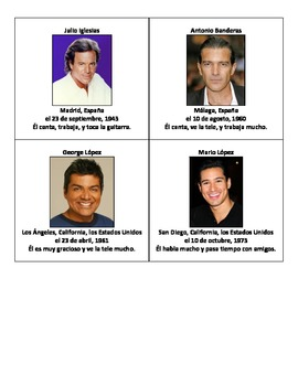 Spanish Speaking Activity using Famous Hispanic Celebrities