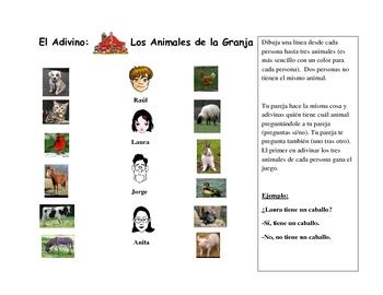 Spanish Speaking Activity with Animal Vocabulary (Farm)