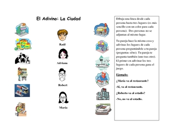 Spanish Speaking Activity with City Locations Vocabulary