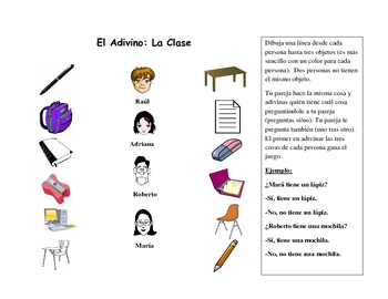 Spanish Speaking Activity with Classroom Vocabulary