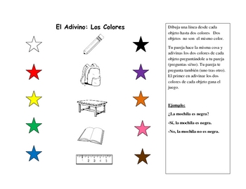 Spanish Speaking Activity with Colors (Pair Activity)