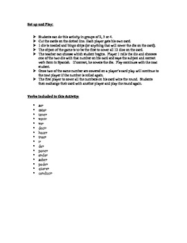 Spanish Preterite (Irregular) Speaking Activity (Dice, Groups)