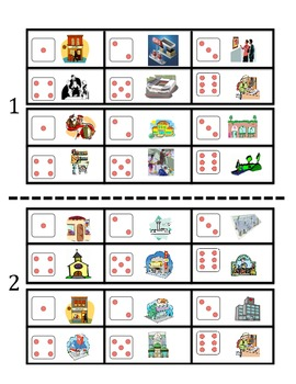 Spanish City Places Vocabulary Speaking Activity (Dice, Groups)