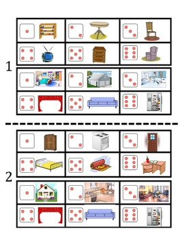 Spanish Room and Furniture Vocabulary Speaking Activity (Dice, Groups)