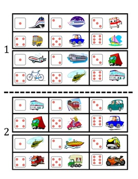 Spanish Transportation Vocabulary Speaking Activity (Dice, Groups)