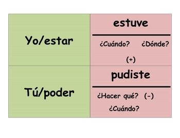 Spanish Preterite (Irregular) Speaking Activity (Memory Sentences)