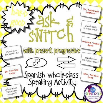 Spanish Speaking Activity with Present Progressive Tense - Hard Good