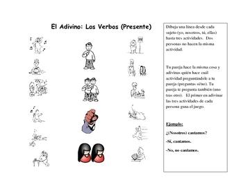 Spanish Speaking Activity with Present Tense Verbs