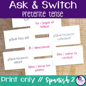 Spanish Speaking Activity with Preterite Tense