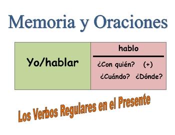 Spanish Regular Verbs Speaking Activity (Memory with Sentences)