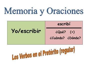 Spanish Preterite (Regular) Speaking Activity (Memory with Sentences)