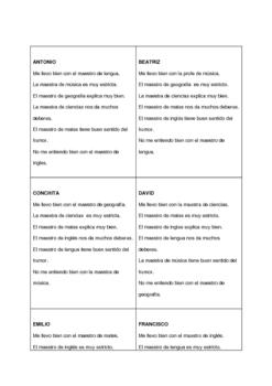 Spanish Speaking Activity with School Subjects