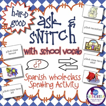 Spanish Speaking Activity with School Subjects & Supplies - Hard Good