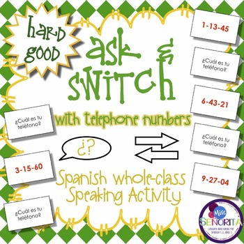 Spanish Speaking Activity with Telephone Numbers  - Hard Good