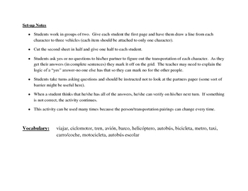Spanish Speaking Activity with Transportation Vocabulary