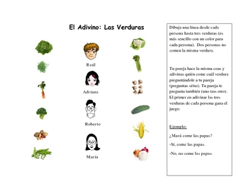 Spanish Speaking Activity with Vegetable Vocabulary