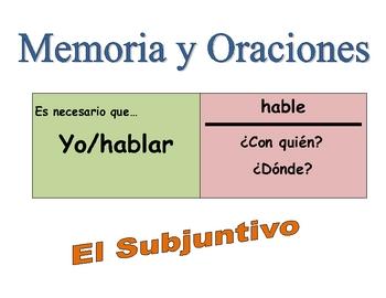 Spanish Subjunctive Speaking Activity (Memory with Sentences)