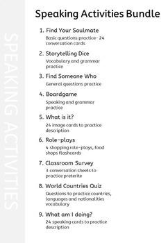 Spanish Speaking Activities Bundle – Whole Class Speaking Activities