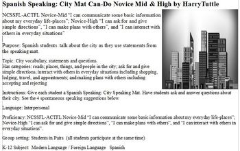 Spanish Speaking: City Mat Can-Do Novice Mid and High