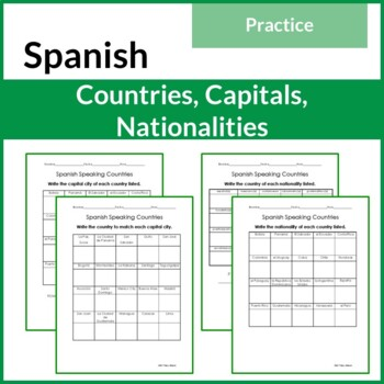 Spanish Speaking Countries, Capital Cities and Nationalities Chart or Practice
