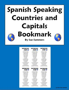 Spanish Speaking Countries and Capitals Bookmark