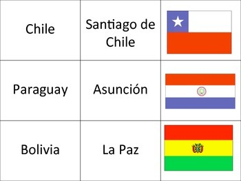 Spanish-Speaking Countries, Capitals & Flags Pair Up Activity