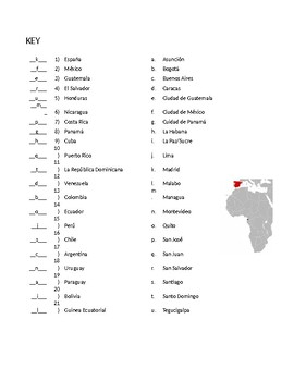 Spanish-Speaking Countries Capitals Quiz w/answer key
