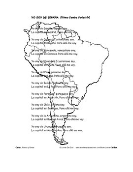 Spanish – Speaking Countries, Capitals and Nationalities 1   Song/Chant