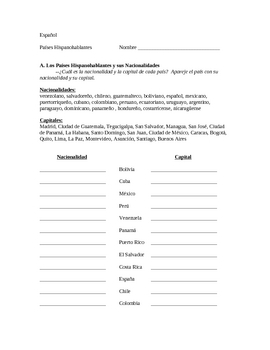 spanish speaking countries capitals and nationalities worksheet. Black Bedroom Furniture Sets. Home Design Ideas