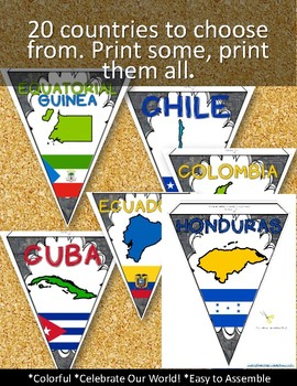 SPANISH SPEAKING COUNTRIES CLASSROOM DECOR MAKE YOUR OWN PENNANT BANNER