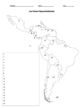 spanish speaking countries map quiz by senora hoffer tpt. Black Bedroom Furniture Sets. Home Design Ideas