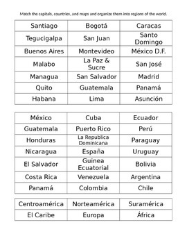 Spanish Speaking Countries Matching Cards