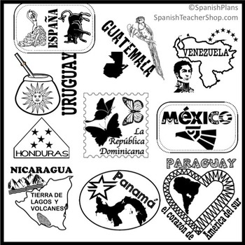 Spanish Speaking Countries Passport Stamp Set Clipart by ...