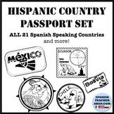 Spanish Speaking Countries Passport Stamp Set Clipart