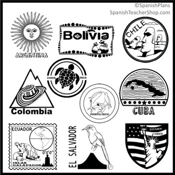 Spanish Speaking Countries Passport Stamp Set Clipart By SpanishPlans