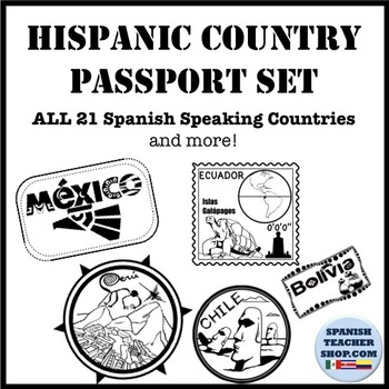 Spanish Speaking Countries Passport Stamp Set Clipart