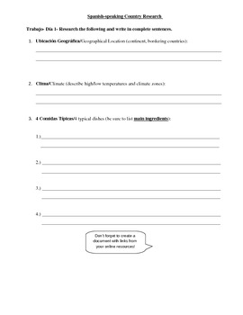 Spanish Speaking Countries Project - Assignment Packet and Rubric
