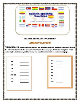 Spanish Speaking Countries Student Activities and Teacher Resources