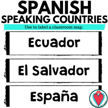 Spanish Speaking Countries Word Wall