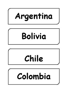 Spanish Speaking Countries Word Wall & Map Labels