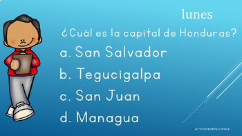 Spanish Speaking Countries and Capitals Bell Ringer, Warm Ups, Do Nows (Mon-Fri)