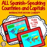 Spanish Speaking Countries and Capitals, Boom Cards, Type or Click Answers, Map